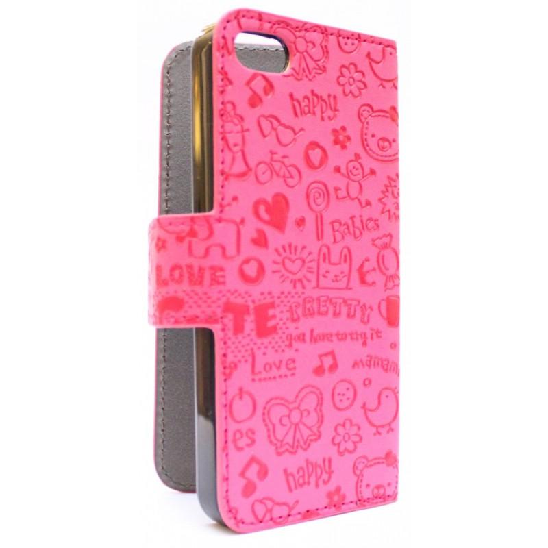 iPhone 5 hot pink kuviollinen kansikotelo.