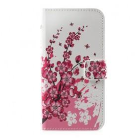 Huawei P10 vaaleanpunaiset kukat puhelinlompakko