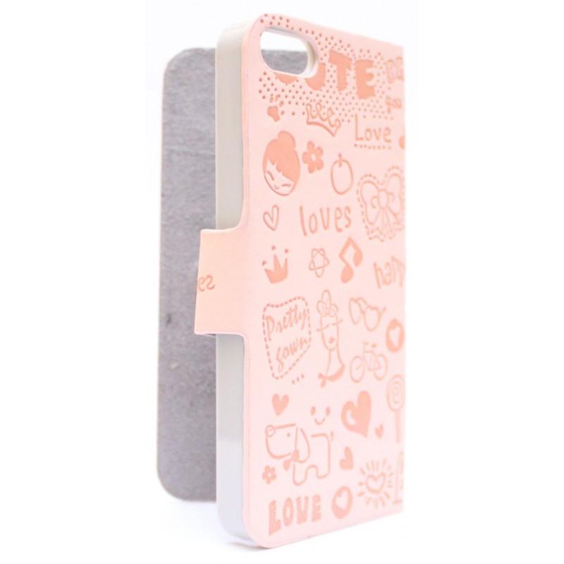 iPhone 5 vaaleanpunainen kuviollinen kansikotelo.