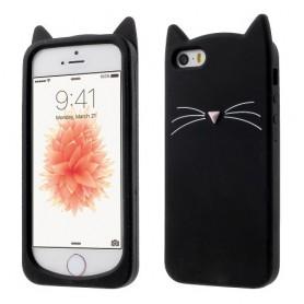 iPhone 5 musta kissa silikonikuori.