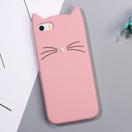iPhone 5 vaaleanpunainen kissa silikonikuori.