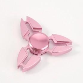 Vaaleanpunainen alumiininen tri-spinner stressilelu.
