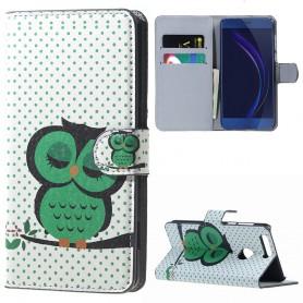 Huawei Honor 8 vihreä pöllö puhelinlompakko