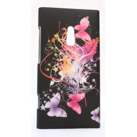 Lumia 800 suojakuori perhosia mustalla taustalla.