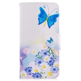 Nokia 6 sininen perhonen puhelinlompakko