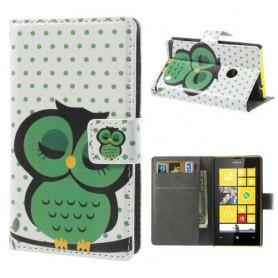 Lumia 520 vihreä pöllö lompakkokotelo.