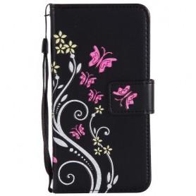Huawei Honor 8 Lite musta kukkia ja perhosia puhelinlompakko