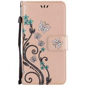 Huawei Honor 8 Lite kullanvärinen kukkia ja perhosia puhelinlompakko