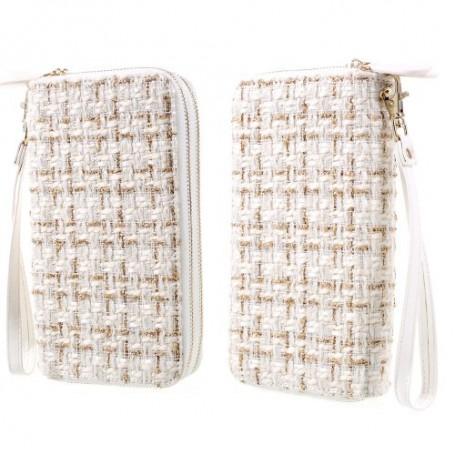 Vaalea ommelkuvioitu käsilaukku puhelimelle