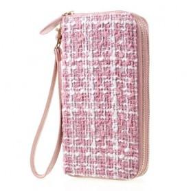 Vaaleanpunainen ommelkuvioitu käsilaukku puhelimelle