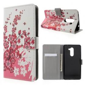 Huawei Honor 6X vaaleanpunaiset kukat puhelinlompakko