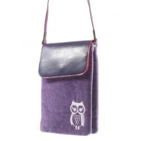 Violetti pöllö kännykkälaukku