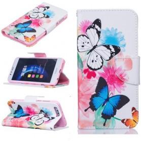 Huawei Honor 8 värikkäät perhoset puhelinlompakko