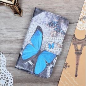 Nokia Lumia 925 sininen perhonen puhelinlompakko