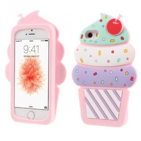 Apple iPhone 5 vaaleanpunainen jäätelo silikonisuojus.