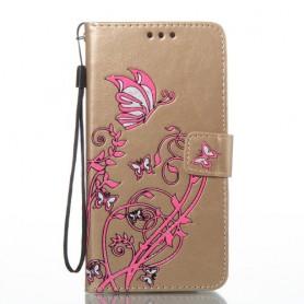 Samsung Galaxy J5 2016 kullanvärinen kukkia ja perhosia puhelinlompakko