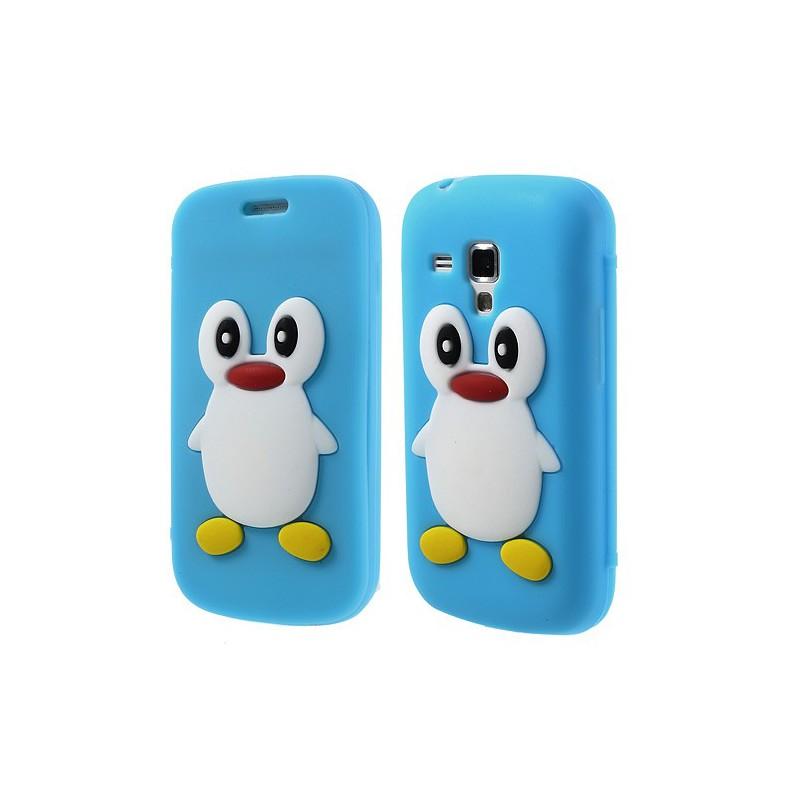 Galaxy Trend sininen kannellinen pingviini silikonisuojus.
