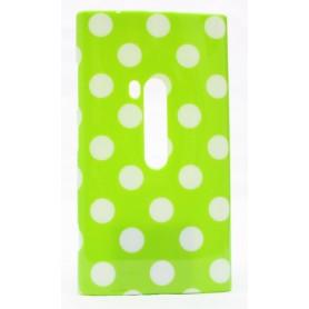 Lumia 920 polka dot suojakuori lime vihreä tausta violetteja täpliä.