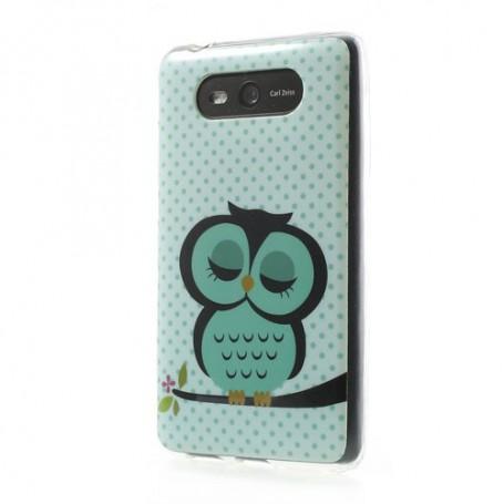 Lumia 820 vihreä pöllö silikonisuojus.