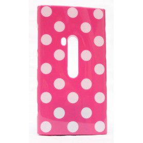 Lumia 920 polka dot suojakuori pinkki tausta valkoisia täpliä.
