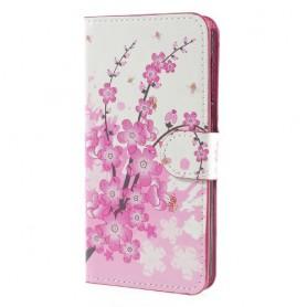 Huawei Y6 2017 vaaleanpunaiset kukat puhelinlompakko