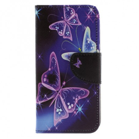 Huawei Y6 2017 violetit perhoset puhelinlompakko