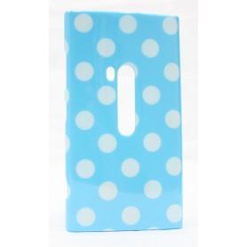 Lumia 920 polka dot suojakuori vaaleansininen tausta valkoisia täpliä.