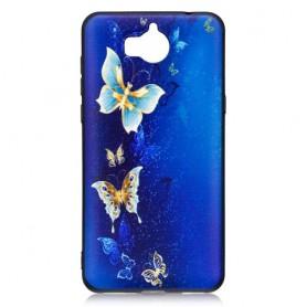 Huawei Y6 2017 sininen perhoset suojakuori.