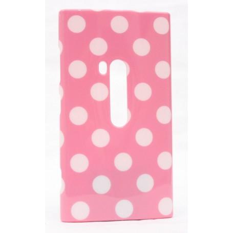 Lumia 920 polka dot suojakuori vaaleanpunainen tausta valkoisia täpliä.