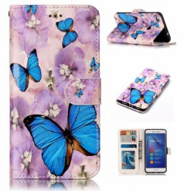 Huawei Honor 8 Lite siniset perhoset puhelinlompakko