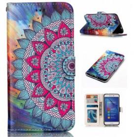 Huawei Honor 8 Lite värikäs kukka puhelinlompakko