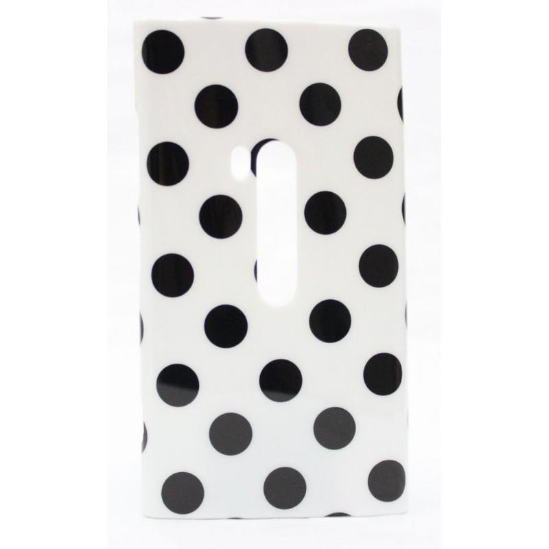 Lumia 920 polka dot suojakuori valkoinen tausta mustia täpliä.