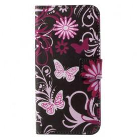Huawei Honor 9 kukkia ja perhosia puhelinlompakko