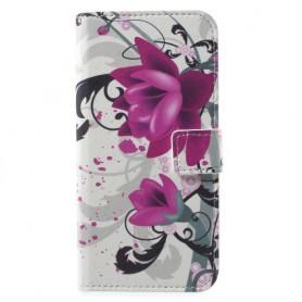 Huawei Honor 9 violetit kukat puhelinlompakko