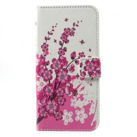 Huawei Honor 9 vaaleanpunaiset kukat puhelinlompakko