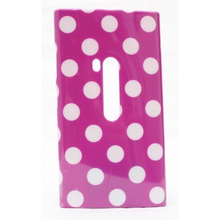Lumia 920 polka dot suojakuori violetti tausta mustia täpliä.