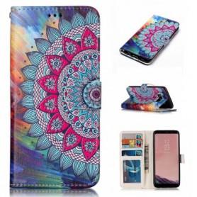Samsung Galaxy S8 värikäs kukka puhelinlompakko
