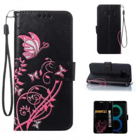 Samsung Galaxy S8 musta kukkia ja perhosia puhelinlompakko