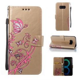 Samsung Galaxy S8 kullanvärinen kukkia ja perhosia puhelinlompakko