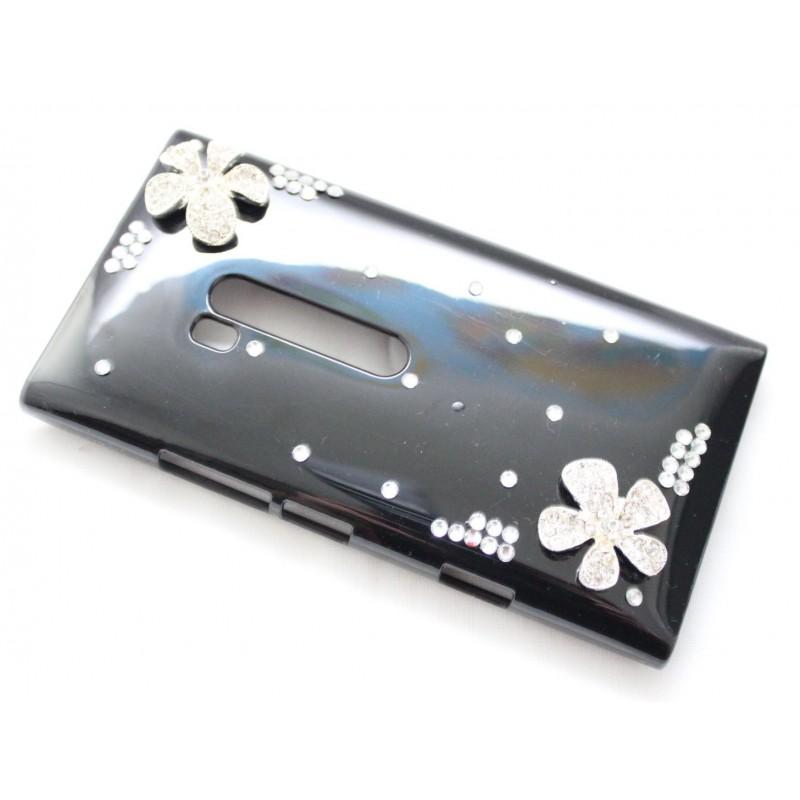 Lumia 900 bling suojakuori musta timanttikukka.