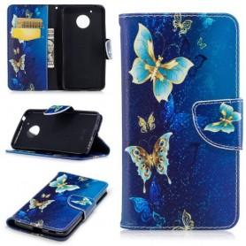 Motorola Moto G5 siniset perhoset puhelinlompakko