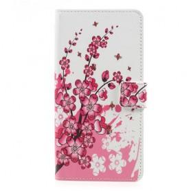 OnePlus 5 vaaleanpunaiset kukat puhelinlompakko