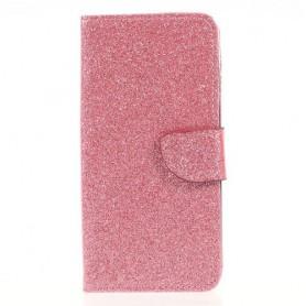 Samsung Galaxy J3 2017 pinkki glitter puhelinlompakko