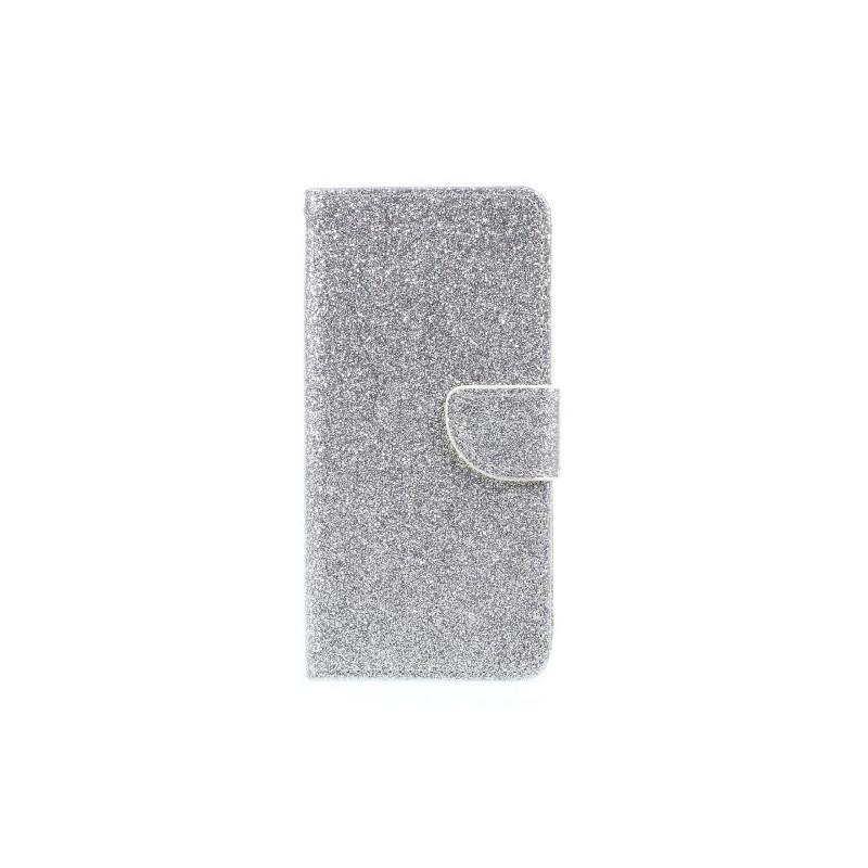Samsung Galaxy J3 2017 hopeanvärinen glitter puhelinlompakko