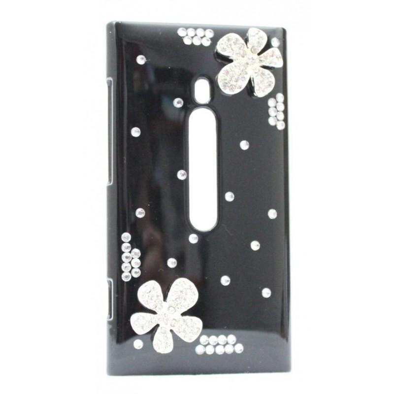 Lumia 800 bling suojakuori musta timanttikukka.