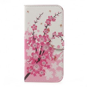 Samsung Galaxy J3 2017 vaaleanpunaiset kukat puhelinlompakko