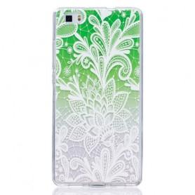 Huawei P8 Lite vihreä kukka suojakuori.