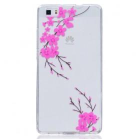 Huawei P8 Lite pinkki kukka suojakuori.