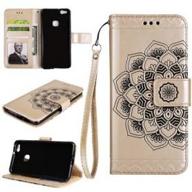 Huawei P10 Lite kullanvärinen mandala puhelinlompakko