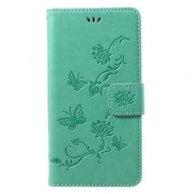 Huawei P10 Lite vihreä kukkia ja perhosia puhelinlompakko